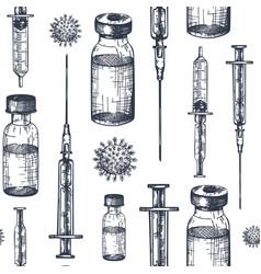coronavirus vaccine seamless pattern backdrop vector image