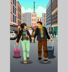 couple traveling together vector image