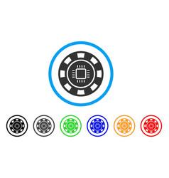 Cpu casino chip icon vector
