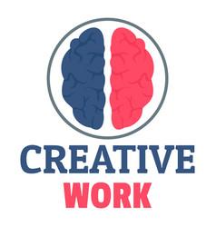 creative brain work logo flat style vector image