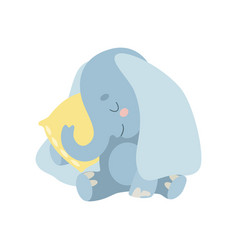 Cute baby elephant animal sleeping on pillow vector