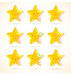 cute cartoon star emotions set vector image