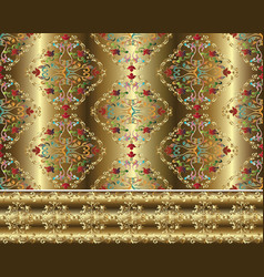 damask baroque gold 3d seamless pattern and border vector image