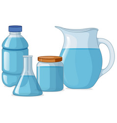 different types of containers with fresh water vector image