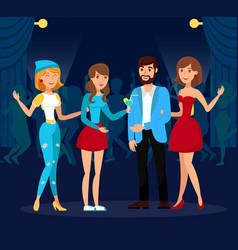 Discotheque friends clubbing vector