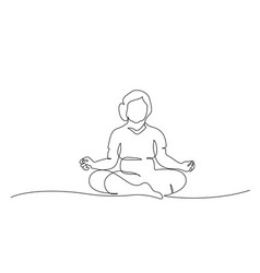elderly woman doing yoga lotus pose one line vector image