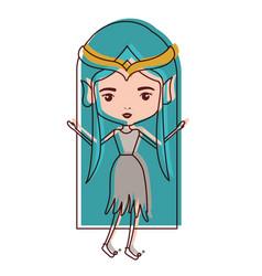 elf princess fantastic characters in watercolor vector image