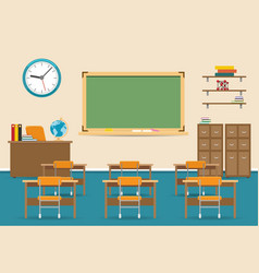 Empty classroom interior with blackboard vector
