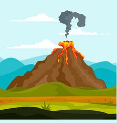 Eruption of volcano background flat style vector