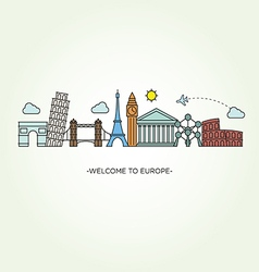 Europe skyline silhouette line style vector image