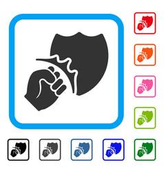 fist strike shield framed icon vector image