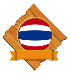 Flag of thailand on wooden board vector