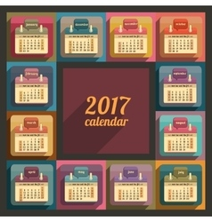 Flat calendar 2017 year design vector image