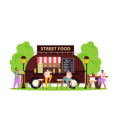 flat street food van vector image