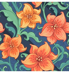 Flower pattern lily blue vector