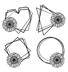 frame with sunflower vector image