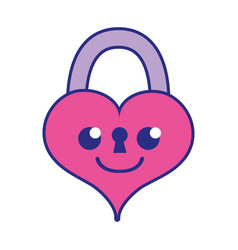 Full color smile heart padlock kawaii personage vector