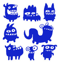 Funny blue flat monsters vector