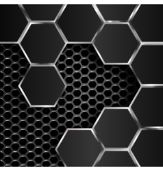 geometric pattern of hexagons with black metal vector image