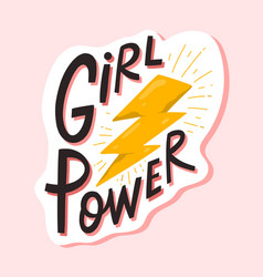 girl power lettering composition flat vector image