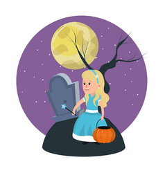 Girl with fairy godmother costume in the cemetery vector