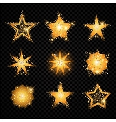 Gold glittering stars sparkling particles vector