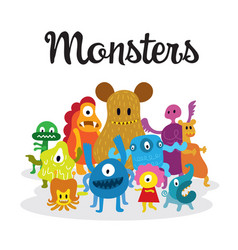 Group of cute monsters cartoon characters vector