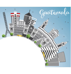 Guatemala skyline with gray buildings blue sky vector