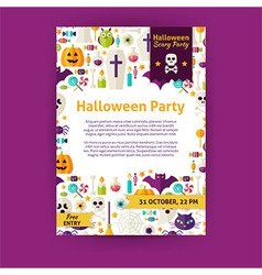 halloween party holiday invitation template flyer vector image
