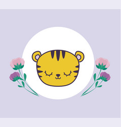 Head cute tiger in frame circular with flowers vector