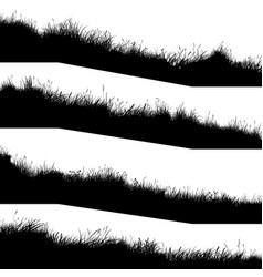 horizontal banners silhouettes wavy meadow on vector image