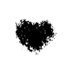 ink dry brush stroke heart vector image