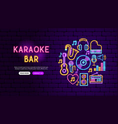 Karaoke bar neon banner design vector