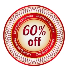 Label on 60 percent discount vector image
