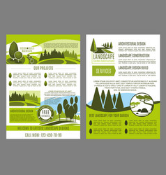 Landscape design business brochure template vector