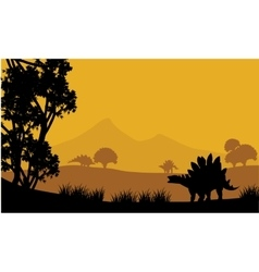 Landscape of stegosaurus silhouette vector