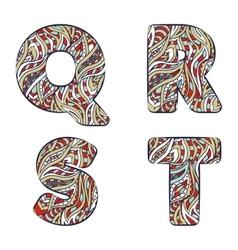 Letters q r s t set colorful alphabet vector