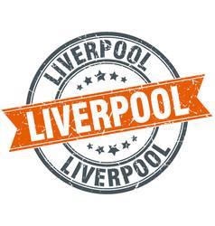 Liverpool red round grunge vintage ribbon stamp vector