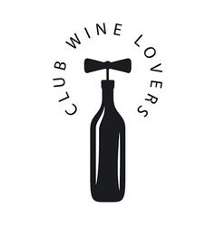 Logo bottle of wine with corkscrew vector