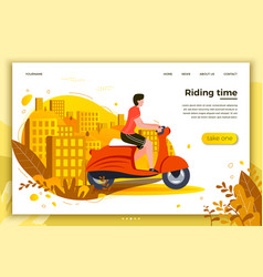 Man riding on motorbike vector