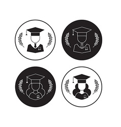 Men and Women Graduates with Hat and Wreath vector image