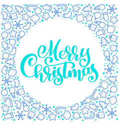 merry christmas calligraphy text with xmas vector image