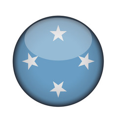 Micronesia flag in glossy round button icon vector