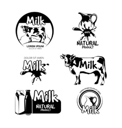 Milk logo and emblems set vector image