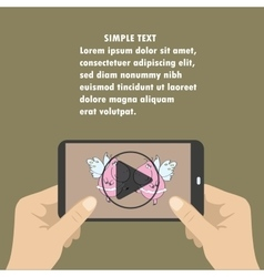Mobile phone with video player on the screen in vector image