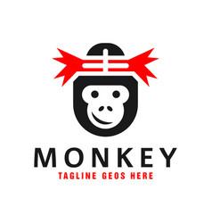 Monkey head inspiration logo design vector