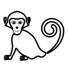 monkey icon black color fill flat style vector image