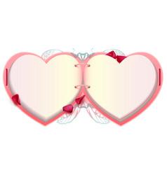 open book heart shape romantic valentine card vector image