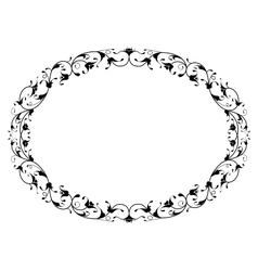 Oriental floral ornamental black oval frame vector