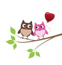 Owls in love vector